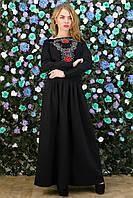 Платье-макси черное с вышивкой