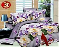 Бельё  постельное полуторное Сирень, в подарочной упаковке, простынь 150x220