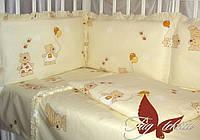 Постельное белье детское, в кроватку с простынью на резинке 60x120х15 ,  Мишки-малышки желтый