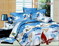 Полуторное постельное детское, ткань хлопковая, Смурфики-love, простынь 160x220