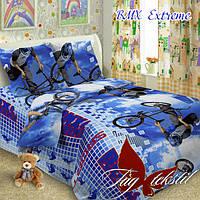 Детский комплект постельного белья, полуторный, ткань поплин, BMX extreme
