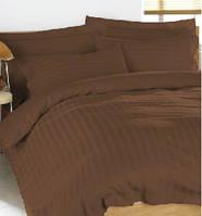 Комплект постельного белья шоколадный, страйп сатин (100%)