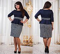 Д794/1  Платье с баской размеры 50-56 Кубик белый