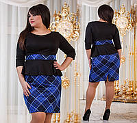 Д794/1  Платье с баской размеры 50-56 Клетка синий