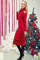 Платье красное миди длины с вырезами на плечах