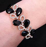 Браслет ветка с черными камнями