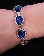 Браслет Капли с синими камнями
