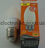 Лампа Led Е-27 7W 2700К (свеча)