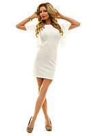 Элегантное облегающее женское платье мини с воланами на рукавах креп дайвинг