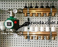 Коллектор для теплого пола AquaWorld на семь контуров в сборе