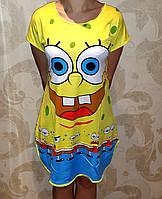 Женская ночная рубашка-туника Спанч Боб