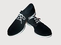 Темно-синие замшевые женские туфли на шнурке