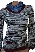Рубашка женская с джинсовим воротником