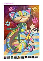 """Схема для частичной вышивки бисером """"Радужный кот"""", А4 формат"""