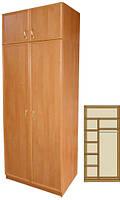 Шкаф в прихожую двухсекционный (4 полки + штанга) ТМ МАКСИ-МЕБЕЛЬ