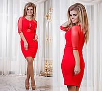 Д280 Платье со вставками сетки в расцветках