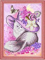Схема для частичной вышивки бисером Кошка в шляпе, А4 формат