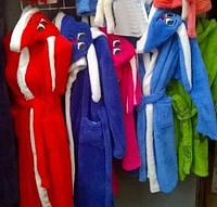 Халат для девочки с ушками на капюшоне