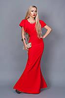 Шикарное красное платье-рыбка длинное в пол с оригинальными рукавами