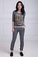 Оригинальный женский спортивный костюм кофта свободного кроя штаны с карманами