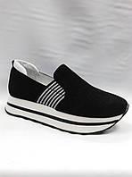 Замшевые туфли на толстой подошве с резинкой по подъему. Слипоны..