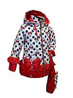 Стильная курточка для девочки демисезонная  с сумочкой в рисунок Минни Мауса