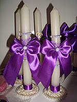 """Свечи для мам тонкие на подставке """"Классика"""" фиолетовые"""