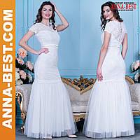 """Белое вечернее, свадебное длинное платье  """"Богиня"""""""