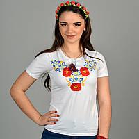 Модная футболка вышиванка Юлия с коротким рукавом три мака