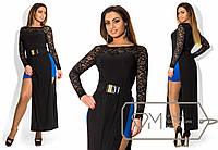 Элегантное длинное черное платье батал с вырезами по бокам и синей юбкой. Арт-1701/41.