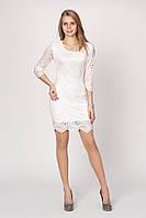 Праздничное женское платье с кружевом и гипюром в белом цвете