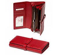 806-133 Red Кошелёк-клатч женский кожаный красный