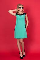 Удобное летнее платье-трапеция- мятного цвета сзади по спинке декоративная сборка
