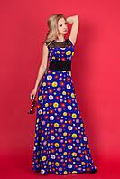 Шикарное вечернее платье цветочный принт на кокетка на груди выпеолнена из сетки