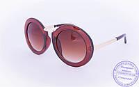 Оригинальные круглые солнцезащитные очки - Коричневые - 2500