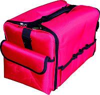 Чемодан мастера тканевый розовый с черными вставками TJ-015 YRE, сумка для мастера маникюра, парикмахера