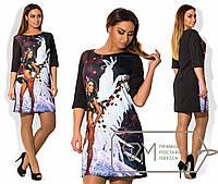 Стильное короткое черное платье из дайвинга с 3D принтом Крылья .  Арт-1711/41.
