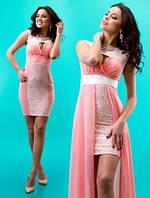 Платье короткое с шифоновым шлейфом