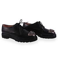 Удобные женские туфли Beratroni (кожаные, весна-лето, на низком ходу , черные, на шнуровках,