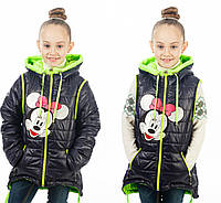 Курточка-жилетка весенняя на девочку Микки Минни Маус, черная однотонная