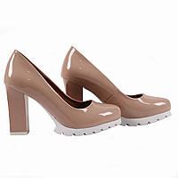 Модные женские туфли Gelsomino (удобные, лаковые, бежевые, на каблуке, на платформе, весенние, летние)