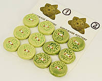 Пуговица зеленого цвета декоративная керамическая ручной работы