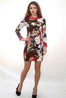 Стильное платье из цветочного принтованого трикотажа