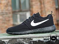 Кроссовки мужские беговые черные Nike Roshe Run galaxy (сетка, реплика)