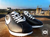 Кроссовки мужские стильные черные Nike Cortez Black Leather (реплика)