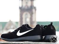 Кроссовки мужские беговые черные Nike Roshe Run (замша, реплика)