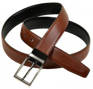 Эффектный мужской кожаный двухсторонний ремень ZB350530 black-brown