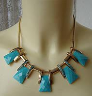 Ожерелье колье с бирюзовыми подвесками стильное элегантное металл ювелирная бижутерия 5988