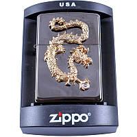 Зажигалка бензиновая Zippo Золотой дракон