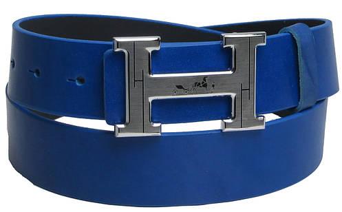 Кожаный мужской ремень под джинсы с логотипом Hermes 2746 синий ДхШ: 113х4 см.